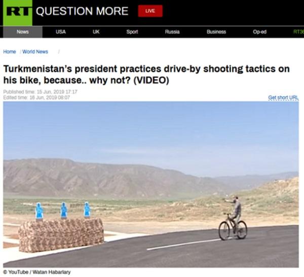 《碟中谍》同款?土库曼斯坦总统自行车上秀枪法