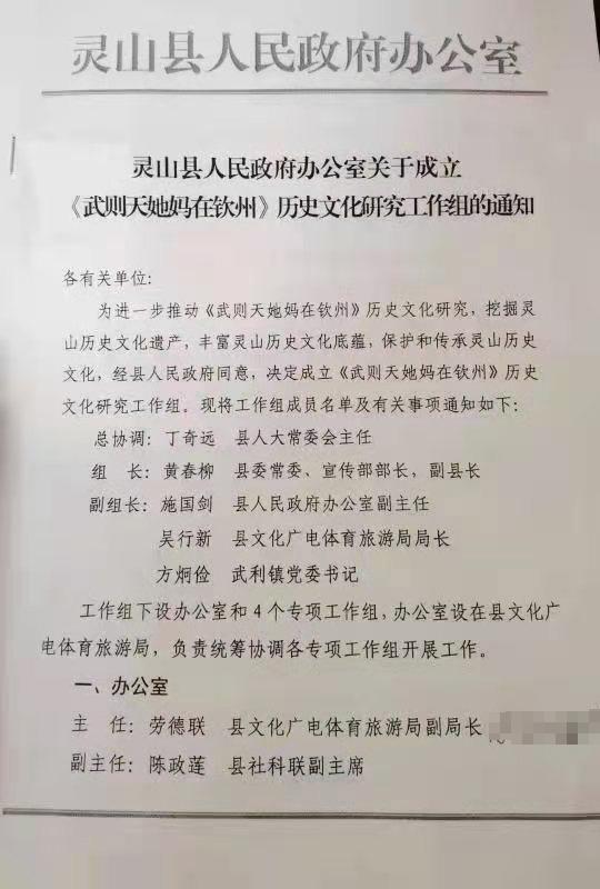 网络平台上流传的广西灵山县人民政府办公室红头文件。